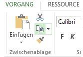 Schaltfläche 'Kopieren' auf der Registerkarte 'Vorgang'