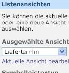 Webpart-Toolbereich 'Bestellliste' mit dem Lieferdatum als ausgewählter Ansicht