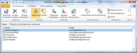 Dialogfeld 'Kontaktgruppe'