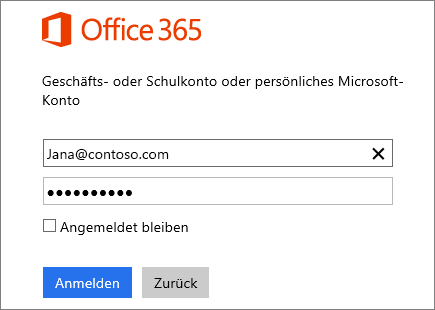 Screenshot des Office 365-Anmeldebereichs