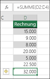 Excel zeigt einen Fehler an, wenn eine Formel Zellen in einem Breich überspringt