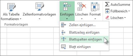 Klicken Sie auf 'Einfügen' und dann auf 'Blattspalten einfügen'