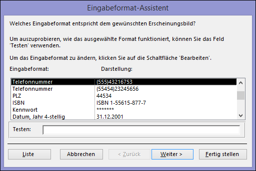 Eingabeformat-Assistent in Access-Desktopdatenbank