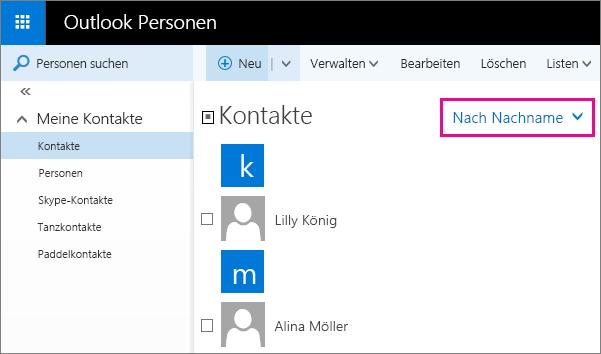 """Screenshot der Outlook-Seite """"Personen"""". Der Screenshot enthält ein Popup für das Filtermenü im mittleren Bereich. Das Popup zeigt, dass der Menüname jetzt """"Nach Nachname"""" lautet."""