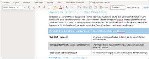 Formatieren von Text in Word Online