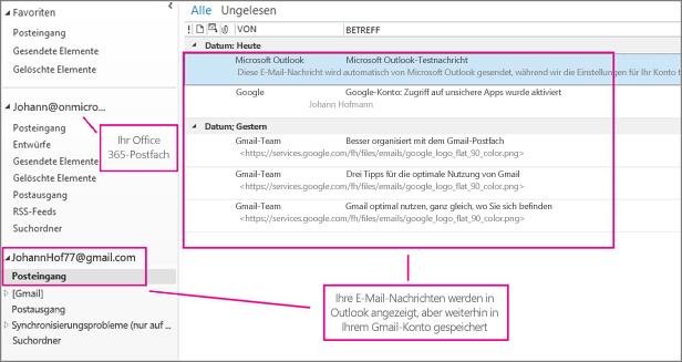 Nachdem Sie Ihr Gmail-Konto hinzugefügt haben, werden in Outlook zwei Konten angezeigt.
