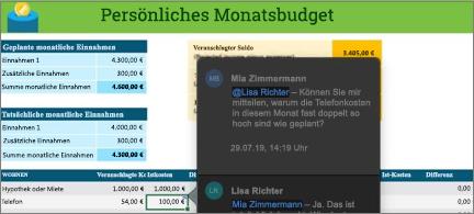 Budget-Arbeitsblatt mit Unterhaltungsthread zwischen zwei Mitarbeitern
