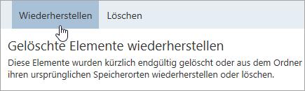 """Screenshot der Schaltfläche """"Wiederherstellen"""""""