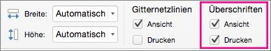 """Auf der Registerkarte """"Seitenlayout"""" unter """"Überschriften"""" den Befehl """"Drucken"""" auswählen"""