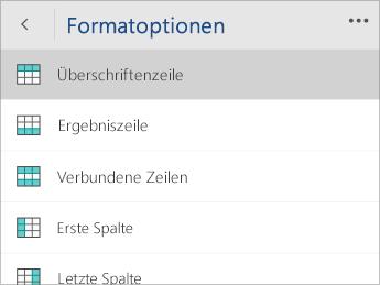 """Screenshot des Menüs """"Formatoptionen"""" mit ausgewählter Option """"Überschriftenzeile"""""""