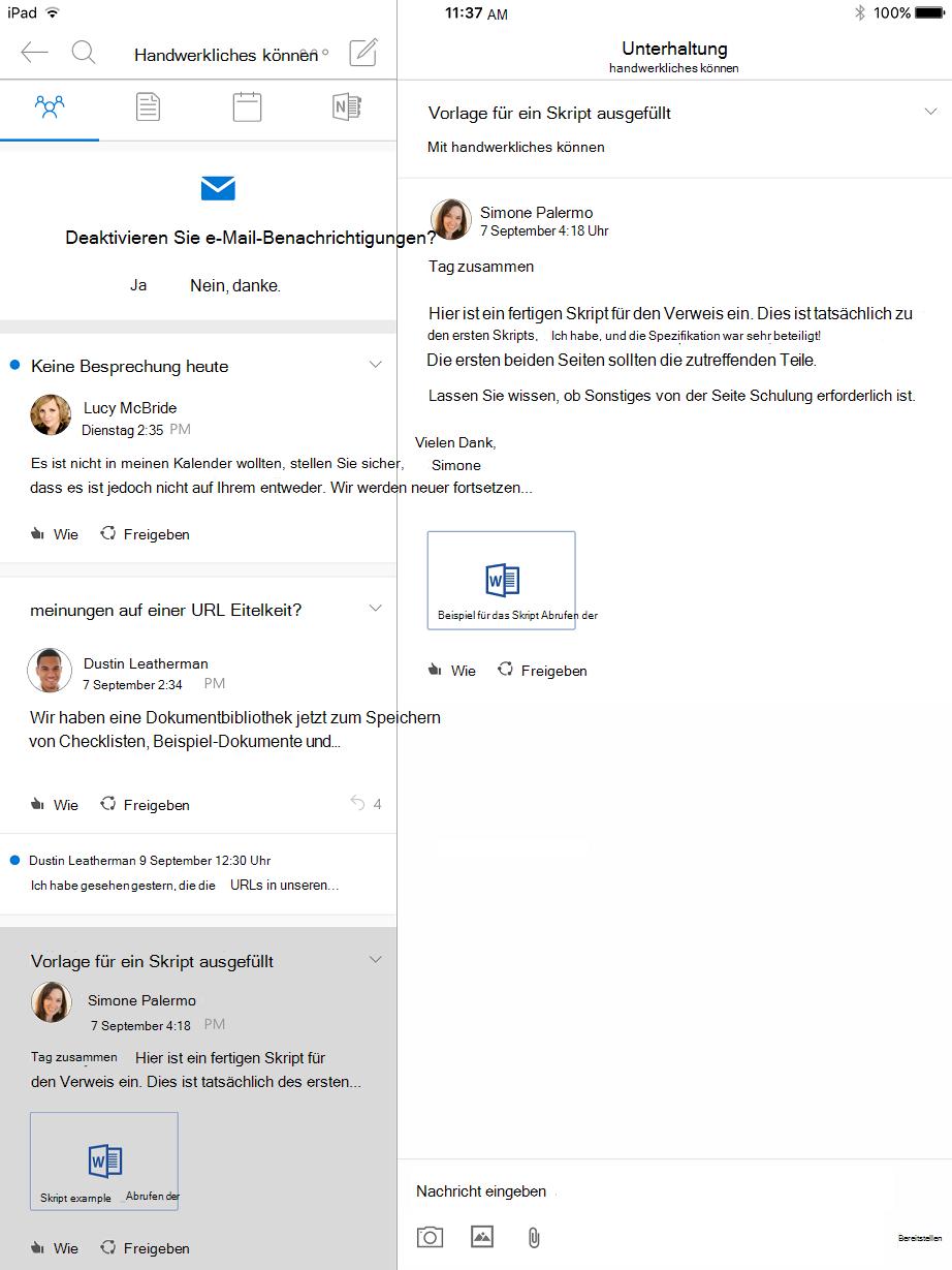 Unterhaltungsansicht in Outlook Gruppen für iPad