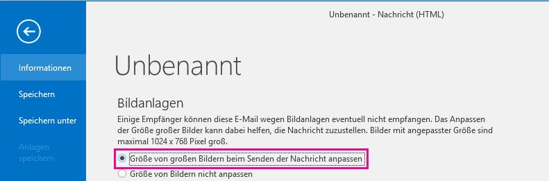 Wenn Sie auf diese Option klicken, können Sie die Größe von Bildern von Outlook anpassen lassen, wenn diese gesendet werden.