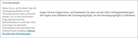 """Verzweigungslogik-Abschnitt im Dialogfeld """"Neue Frage"""""""