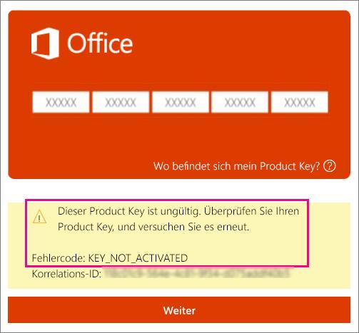 """Fehlercode """"Product Key nicht aktiviert""""."""