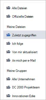 Liste mit Dateispeicherorte
