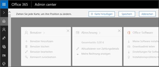 Abbildung der abgeblendet dargestellten Admin Center-Startseite