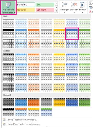 """Katalog """"Als Tabelle formatieren"""""""