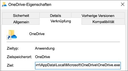 Screenshot des Eigenschaftenmenüs der Anwendung OneDrive.