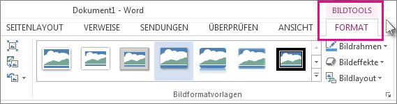 Registerkarte 'Format'