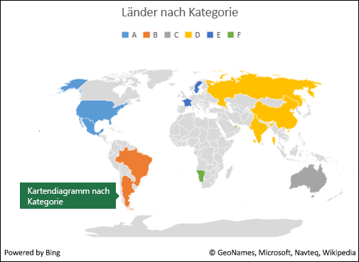 Excel-Kartendiagramm nach Kategorie