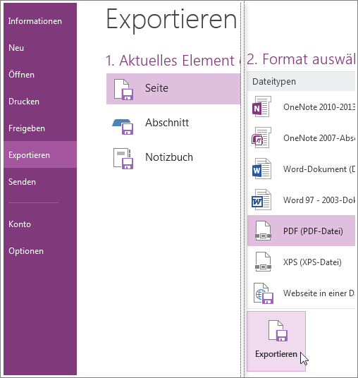 Sie können Notizen in andere Formate wie ein PDF-, XPS- oder Word-Dokument exportieren.