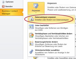 Befehl 'Business Contact Manager-Datensatztypen anpassen' in der Backstage-Ansicht von Outlook