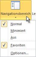 Befehl 'Navigationsbereich' im Menüband