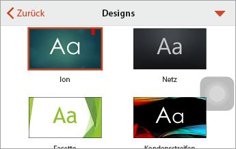 """Befehl """"Designs"""" mit ausgewählter Option """"Ion"""""""