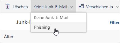 """Screenshot des Menüs """"Kein Spam"""" mit ausgewählter Option für Phishing"""