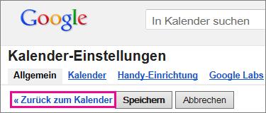 Google Calendar - Auf 'Zurück zum Kalender' klicken
