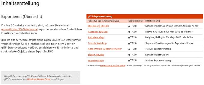 """Screenshot des Abschnitts """"Inhaltserstellung"""" in den Richtlinien für 3D-Inhalte"""