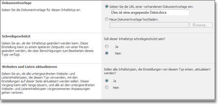 Fenster 'Erweiterte Einstellungen für den Websiteinhaltstyp'