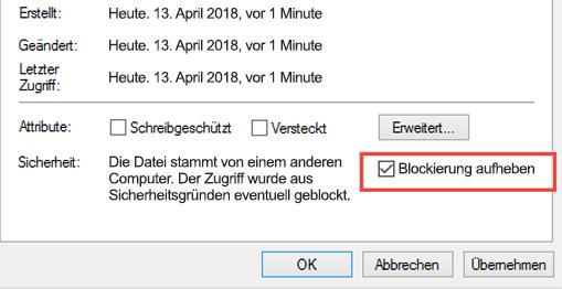 Auflegen der Blockierung der Datei