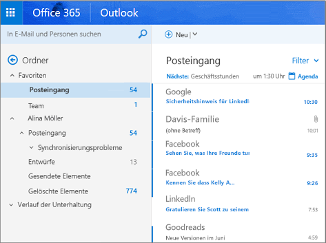 outlook posteingang