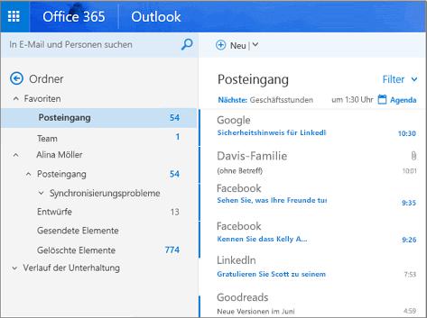 Primäre Ansicht von Outlook im Web