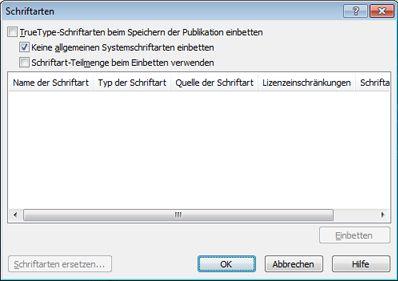 Verwalten eingebetteter Schriftarten in Publisher 2010