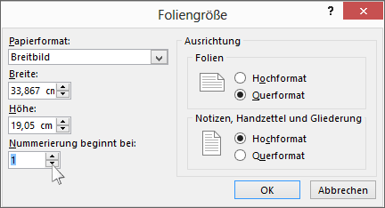 """Zeigt das Dialogfeld """"Foliengröße"""" in PowerPoint"""