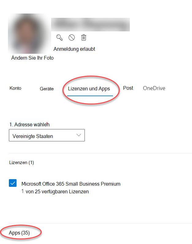 "Formular ""Kontooptionen"" im Microsoft 365 Admin Center"