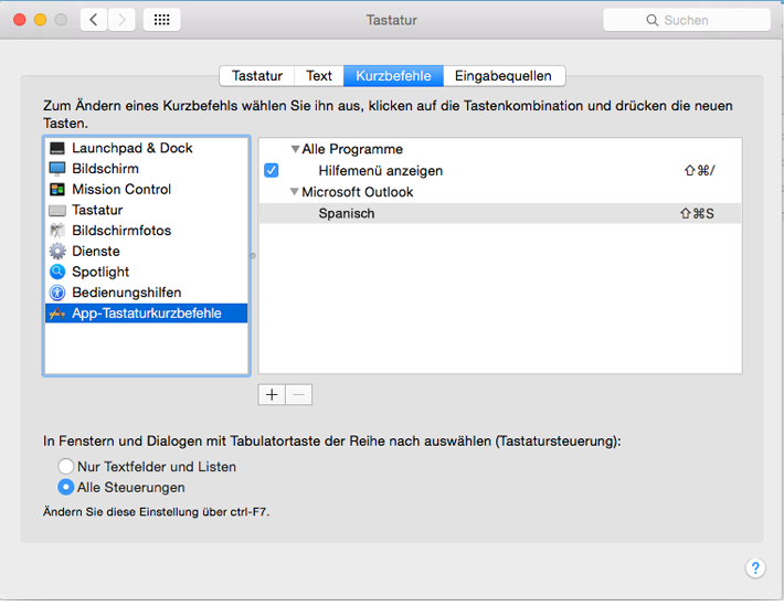 "Outlook 2016 für Mac-Dialogfeld ""Tastenkombinationen"""