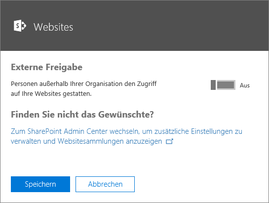 """Screenshot des Dialogfelds """"Externe Freigabe"""", wenn die Einstellung """"Lassen Sie Personen von außerhalb Ihrer Organisation auf Ihre Websites zugreifen"""" deaktiviert ist."""
