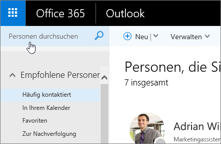 "Screenshot des Bildschirms ""Personen"", Feld ""Personen suchen"" ausgewählt"