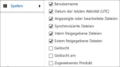 Spalten im OneDrive for Business-Aktivitätsbericht