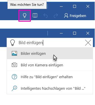 """Word-Menüband mit dem Textfeld """"Sie wünschen"""""""