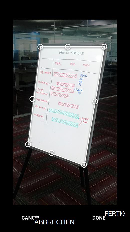 Zuschneiden von Bildern in Office Lens für Android