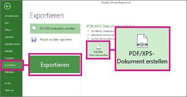 Schaltflächensymbol 'PDF/XPS-Dokument erstellen'