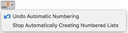 """Schaltfläche """"AutoKorrektur"""" mit Optionen für die automatische Nummerierung"""