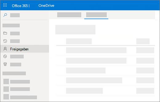 """Screenshot der Ansicht """"für mich freigegeben"""" in OneDrive for Business"""