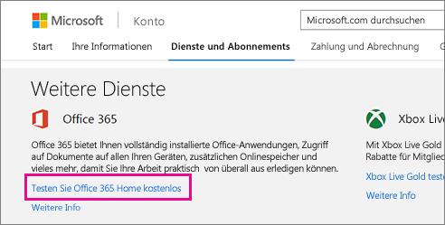 """Auf der Seite """"Meine Konten"""" für Office 365 registrieren"""
