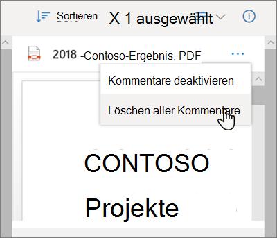 Der OneDrive-Detailbereich mit ausgewählter Option ' alle Kommentare löschen ' im Dropdownmenü