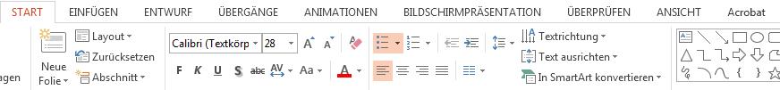 """Sie finden die Formatierungsoptionen auf der Registerkarte """"Start""""."""